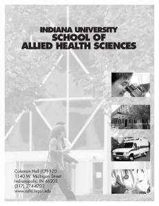 INDIANA UNIVERSITY SCHOOL OF ALLIED HEALTH SCIENCES