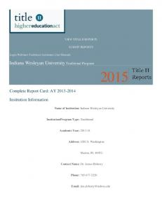 Indiana Wesleyan University Traditional Program