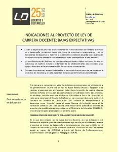 INDICACIONES AL PROYECTO DE LEY DE CARRERA DOCENTE: BAJAS EXPECTATIVAS
