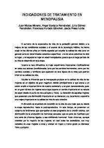INDICACIONES DE TRATAMIENTO EN MENOPAUSIA