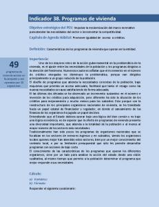 Indicador 38. Programas de vivienda