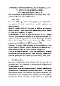 INDICADORES CUANTITATIVOS DE CALIDAD DE SUELO Y SALUD DE UN CULTIVO DE SOJA EN SIEMBRA DIRECTA