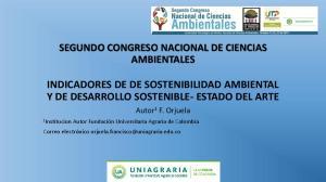 INDICADORES DE DE SOSTENIBILIDAD AMBIENTAL Y DE DESARROLLO SOSTENIBLE- ESTADO DEL ARTE