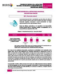 INDICADORES DE LA ESTRATEGIA NACIONAL INCLUIR PARA CRECER