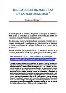 INDICADORES DE MADUREZ DE LA PERSONALIDAD *