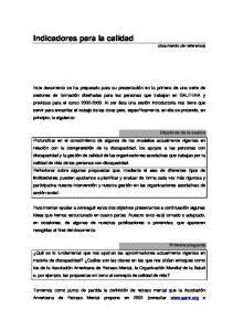 Indicadores para la calidad documento de referencia