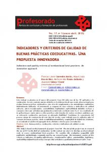 INDICADORES Y CRITERIOS DE CALIDAD DE
