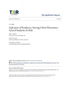 Indicators of Resiliency Among Urban Elementary School Students At-Risk