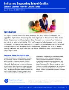 Indicators Supporting School Quality: Lessons Learned from the United States