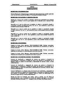 INDICE PRIMERA SECCION PODER EJECUTIVO