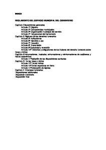 INDICE REGLAMENTO DEL SERVICIO MUNICIPAL DEL CEMENTERIO