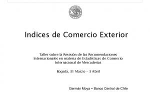 Indices de Comercio Exterior