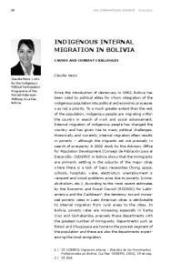 INDIGENOUS INTERNAL MIGRATION IN BOLIVIA