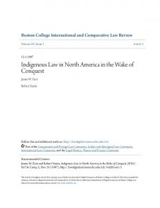 Indigenous Law in North America in the Wake of Conquest