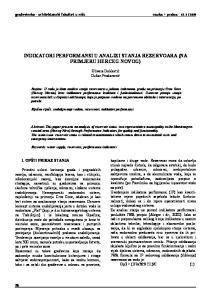 INDIKATORI PERFORMANSI U ANALIZI STANJA REZERVOARA (NA PRIMJERU HERCEG NOVOG)