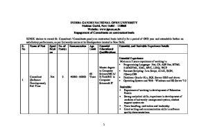INDIRA GANDHI NATIONAL OPEN UNIVERSTY Maidan Garhi, New Delhi Website:  Engagement of Consultants on contractual basis