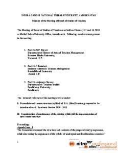 INDIRA GANDHI NATIONAL TRIBAL UNIVERSITY, AMARKANTAK. Minutes of the Meeting of Board of studies of Tourism