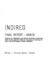 INDIREG FINAL REPORT - ANNEX. Annex II Country Tables Greece