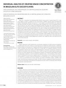 INDIVIDUAL ANALYSIS OF CREATINE KINASE CONCENTRATION IN BRAZILIAN ELITE SOCCER PLAYERS