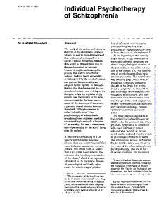 Individual Psychotherapy of Schizophrenia