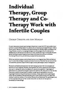 Individual Therapy, Group Therapy and Co- Therapy Work with Infertile Couples