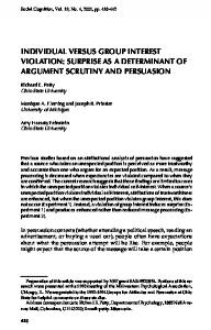 INDIVIDUAL VERSUS GROUP INTEREST VIOLATION: SURPRISE AS A DETERMINANT OF ARGUMENT SCRUTINY AND PERSUASION