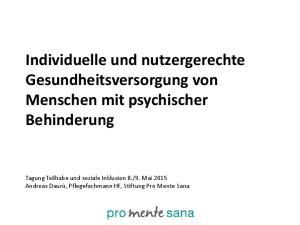 Individuelle und nutzergerechte Gesundheitsversorgung von Menschen mit psychischer Behinderung