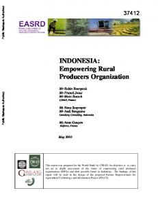 INDONESIA: Empowering Rural Producers Organization