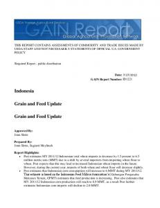 Indonesia. Grain and Feed Update. Grain and Feed Update