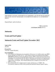 Indonesia Grain and Feed Update November 2012