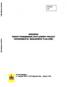 INDONESIA POWER TRANSMISSION DEVELOPMENT PROJECT ENVIRONMENTAL MANAGEMENT PLAN (EMP)