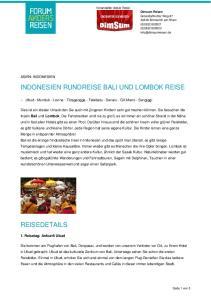 INDONESIEN RUNDREISE BALI UND LOMBOK REISE