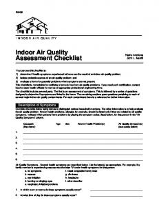 Indoor Air Quality Assessment Checklist