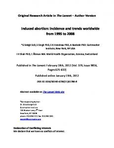 Induced abortion: incidence and trends worldwide from 1995 to 2008