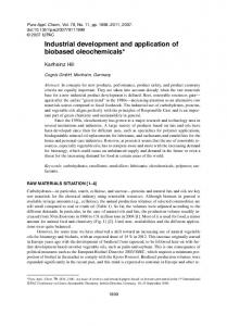 Industrial development and application of biobased oleochemicals*