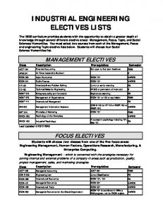 INDUSTRIAL ENGINEERING ELECTIVES LISTS