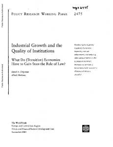 Industrial Growth and the Quality of Institutions