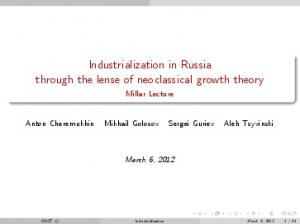Industrialization in Russia through the lense of neoclassical growth theory