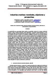 Industrias creativas: novedades, objeciones y perspectivas