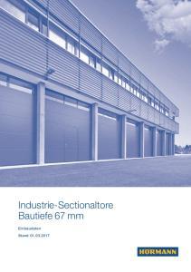 Industrie-Sectionaltore Bautiefe 67 mm. Einbaudaten