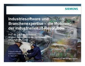 Industriesoftware und Branchenexpertise die Motoren der industriellen IT-Revolution
