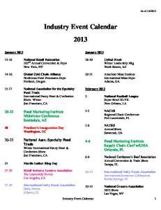 Industry Event Calendar 2013