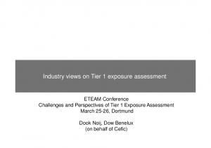 Industry views on Tier 1 exposure assessment
