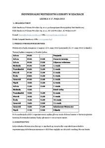 INDYWIDUALNE MISTRZOSTWA EUROPY W SZACHACH