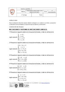 INECUACIONES Y SISTEMAS DE INECUACIONES LINEALES