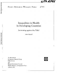 Inequalities in Health in Developing Countries