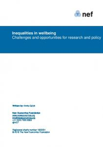 Inequalities in wellbeing Challenges and opportunities for research and policy