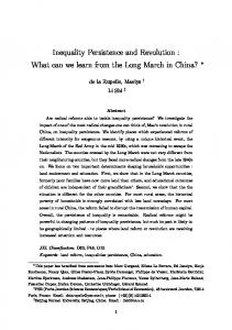 Inequality Persistence and Revolution : What can we learn from the Long March in China?