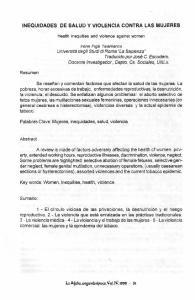 INEQUIDADES DE SALUD Y VIOLENCIA CONTRA LAS MUJERES