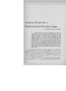 InfanciavDesarrollo Madurez de la Filosofía Griega